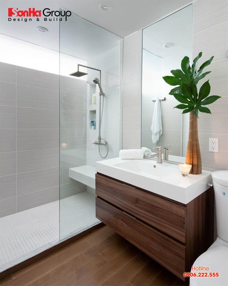 Điểm nhấn chậu cây xanh chính là yếu tố giúp trang trí không gian phòng tắm trở nên hiện đại
