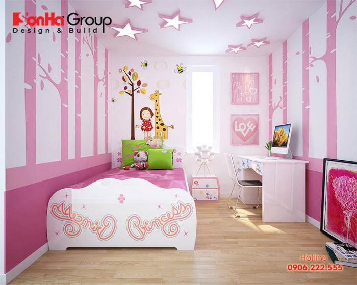 Gam hồng dịu dàng nữ tính là sắc màu chủ đạo trong thiết kế nội thất căn phòng ngủ này dành cho con gái của gia chủ