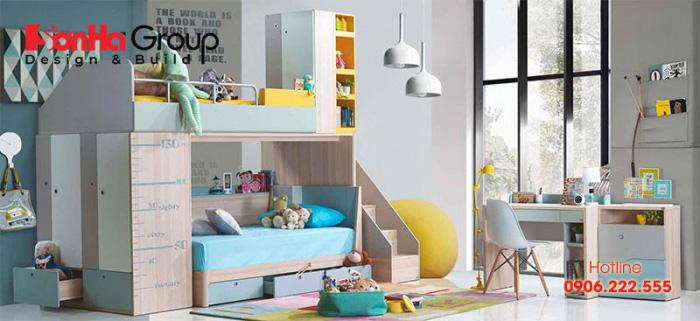 Giường tầng là lựa chọn tối ưu cho bạn, không chỉ tiết kiệm diện tích giúp các bé có thêm khoảng không gian vui chơ