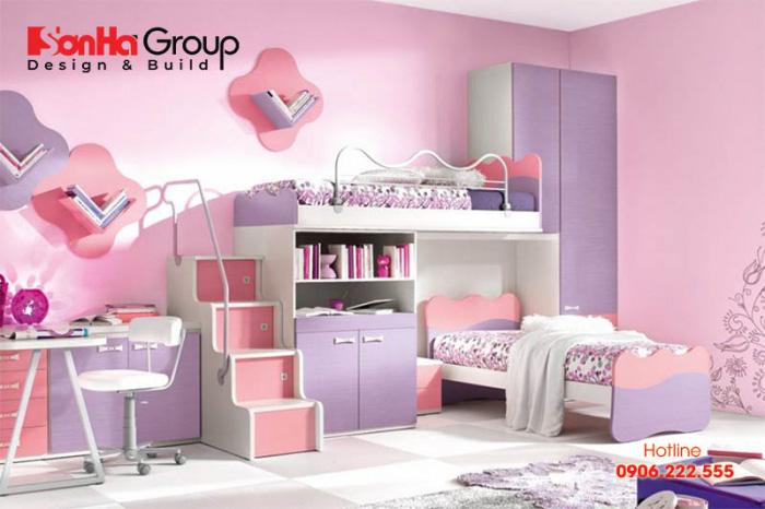 Hồng, tím luôn là những gam màu được các bé gái ưu tiên lựa chọn cho căn phòng ngủ của mình