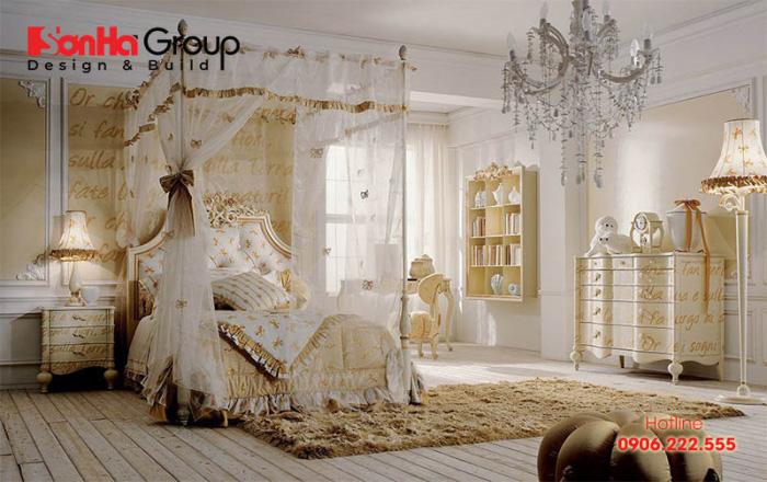 Khá ấn tượng với sắc vàng cổ điển, đảm bảo mang tới căn phòng xa hoa nhất cho các cô gái hiện nay
