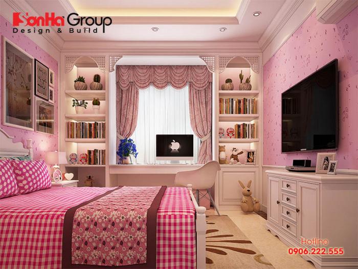 Khám phá mẫu thiết kế nội thất phòng ngủ dành cho con gái mang phong cách cổ điển của biệt thự sang trọng nhất hiện nay