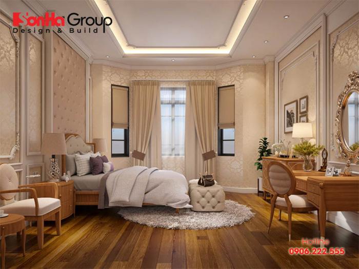 Không gian như yên ả và thư giãn hơn với thiết kế phòng ngủ cùng nội thất gỗ tự nhiên cao cấp