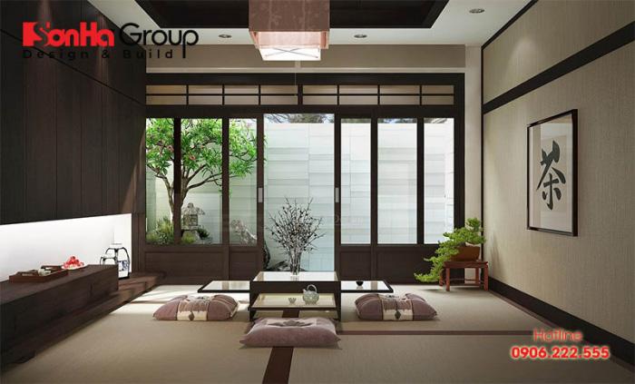 Không gian nội thất phòng khách Zen Nhật Bản giản tiện mà ấn tượng