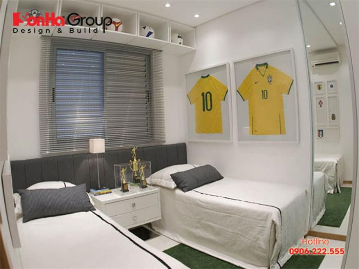 Không gian phòng ngủ cho 2 bé trai đậm chất bóng đá