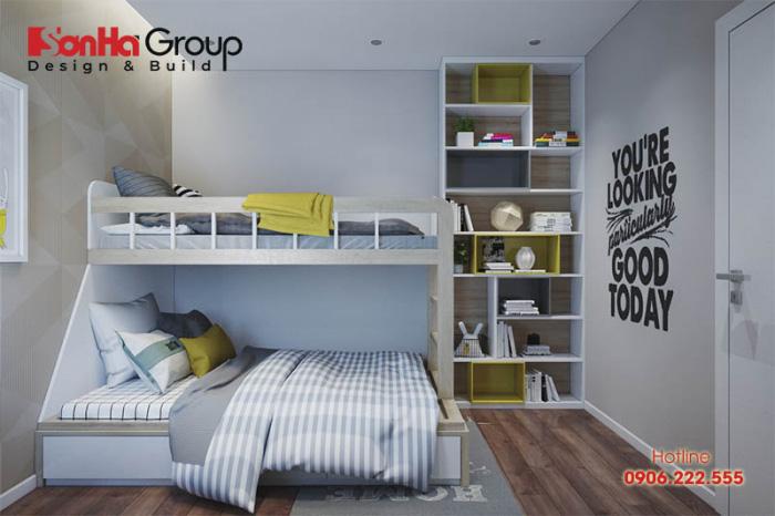 Không gian phòng ngủ cho 2 bé trông thật tươi mát với màu chủ đạo là màu xanh