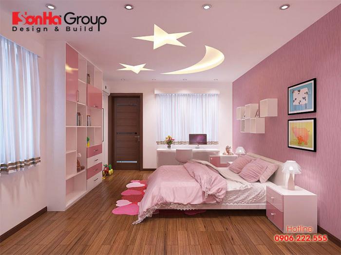 Không gian phòng ngủ con gái hiện đại hơn với cách trang trí đẹp mắt, sử dụng hình khối sáng tạo được chủ nhân rất yêu thích