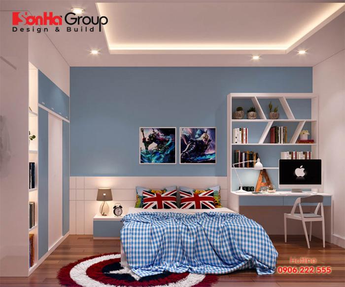 Không gian phòng ngủ dành cho con trai độ tuổi trưởng thành với cách bày trí vật dụng gọn gàng, và thoáng đãng nhất