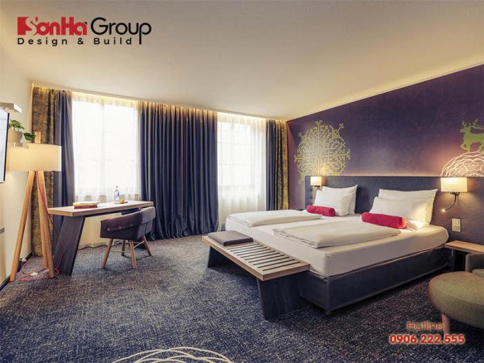 Không gian phòng ngủ khách sạn thiết kế hiện đại, trẻ trung chuẩn phong thủy