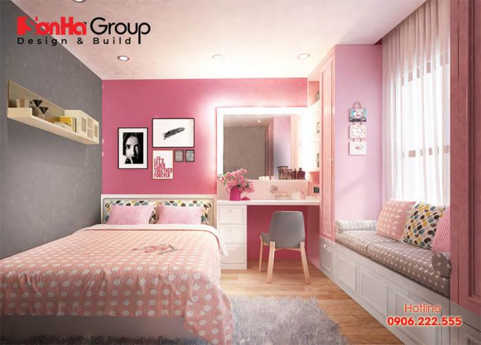 Không gian phòng ngủ màu hồng xám được thiết kế dựa trên cá tính của chủ nhân căn phòng