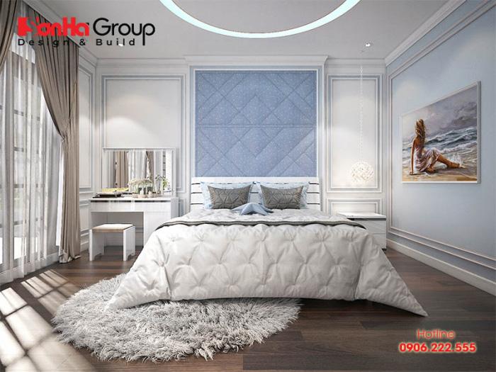 Không gian phòng ngủ rộng rãi được trang bị đầy đủ tiện nghi với diện tích sử dụng 16m2 vô cùng tiện ích dành cho con gái lớn