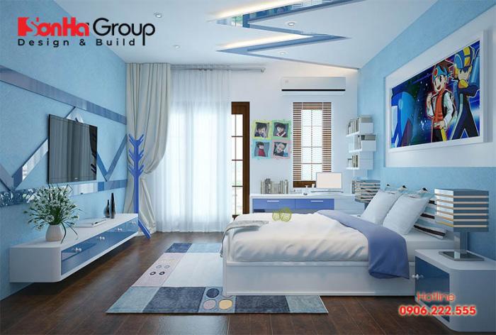 KTS Sơn Hà đã lựa chọn sắc xanh chủ đạo để lên phương án thiết kế nội thất phòng ngủ bé trai đáp ứng đúng sở thích của bé đề ra