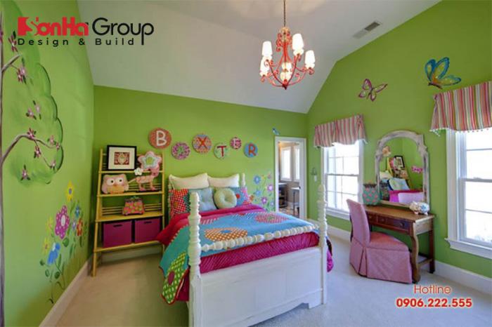 Lựa chọn màu sắc phòng ngủ c theo sở thích của bé nhằm tạo nên sự thoải mái và hứng khởi cho bé