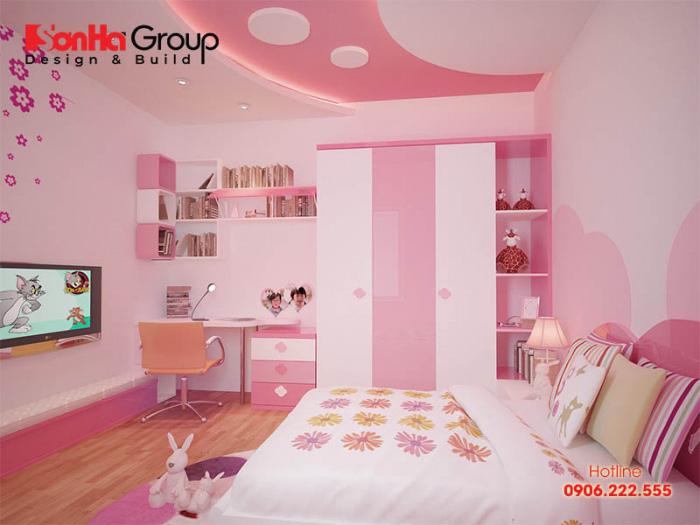 Mặc dù hạn chế về mặt diện tích song nhờ khả năng xử lý bố cục linh hoạt, KTS Sơn Hà vẫn mang đến không gian phòng ngủ xinh yêu với đầy đủ chức năng cho bé gái