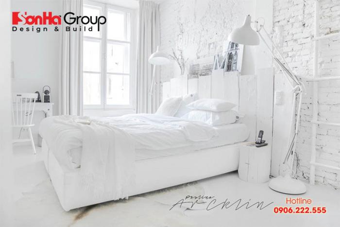 Mẫu 2 phòng ngủ với gam màu trắng khiến bạn không thể không mê