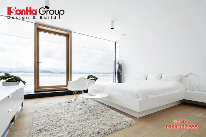 Mẫu 8 phòng ngủ với gam màu trắng khiến bạn không thể không mê
