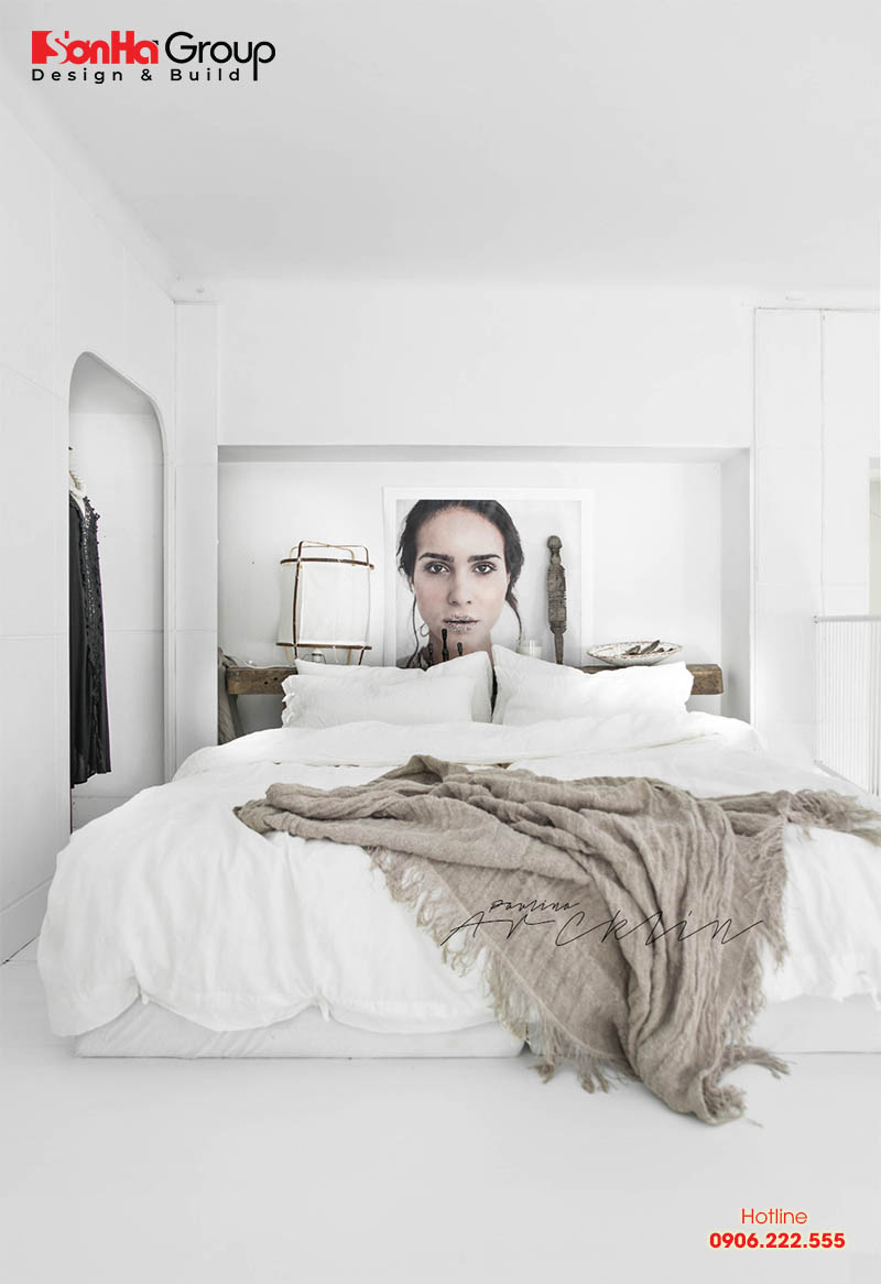 Mẫu 9 phòng ngủ với gam màu trắng khiến bạn không thể không mê