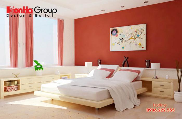 Màu cam giúp không gian phòng ngủ nhỏ trở nên độc đáo, hút mắt hơn