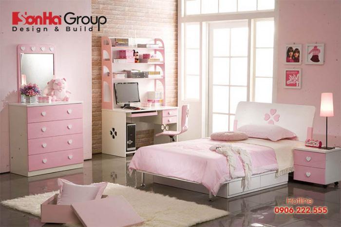Màu hồng tông đậm – nhạt mang đến cho không gian phòng ngủ bé gái nét dịu dàng và cá tính