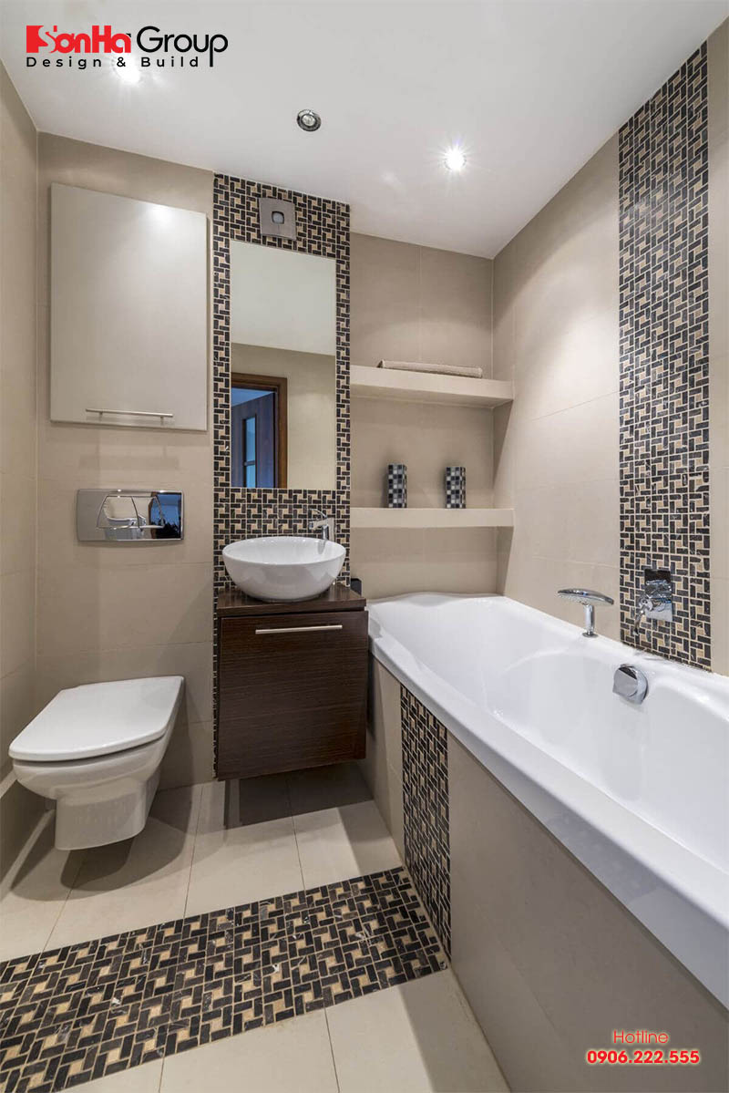 Mẫu nhà vệ sinh nhỏ đẹp được thiết kế màu sắc tối giản tinh tế