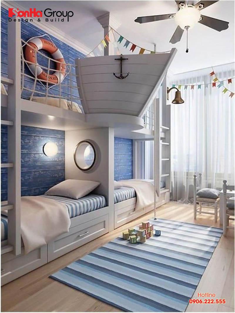 Mẫu nội thất phòng ngủ độc đáo, biến căn phòng thành boong tàu và các cậu nhóc được hoá thân thành các thuỷ thủ