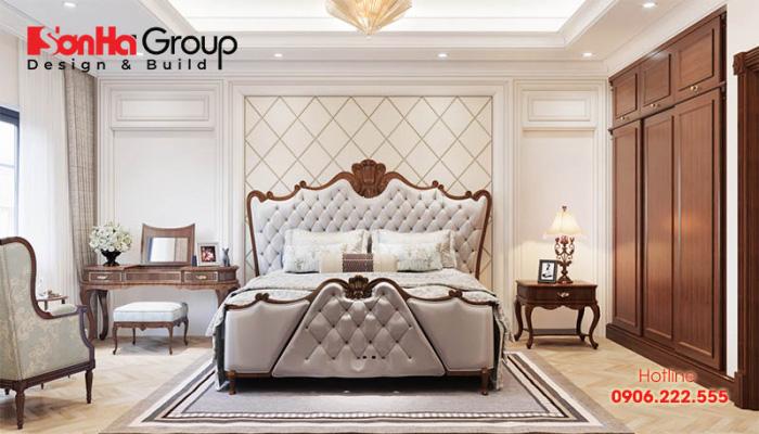 Mẫu nội thất phòng ngủ mang phong cách hoàng gia nhưng được pha trộn với thiết kế hiện đại