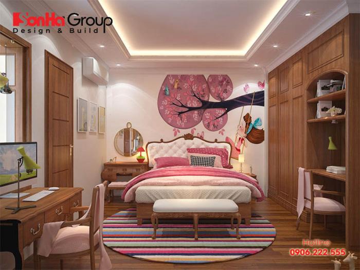 Mẫu phòng ngủ dành cho bé gái có thiết kế nội thất gỗ tự nhiên cao cấp