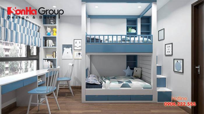 Mẫu phòng ngủ đẹp dành cho 2 bé trai với nội thất hiện đại thiết kế dựa trên đúng sở thích của con