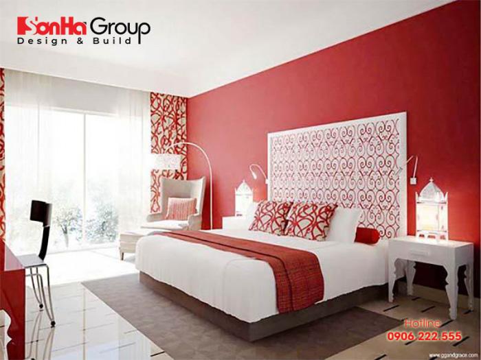 Mẫu phòng ngủ đẹp sang trọng với gam màu trắng đỏ chủ đạo