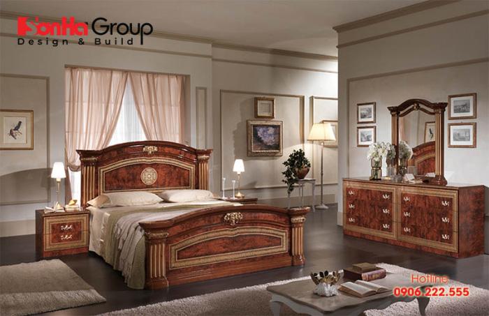 Mẫu phòng ngủ được thiết kế theo phong cách cổ điển sang trọng khiến chủ đầu tư vô cùng hài lòng