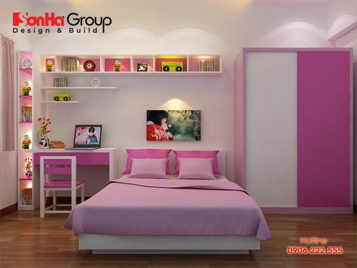 Mẫu phòng ngủ màu hồng trắng cho bé gái độ tuổi tiểu học đơn giản mà hiện đại