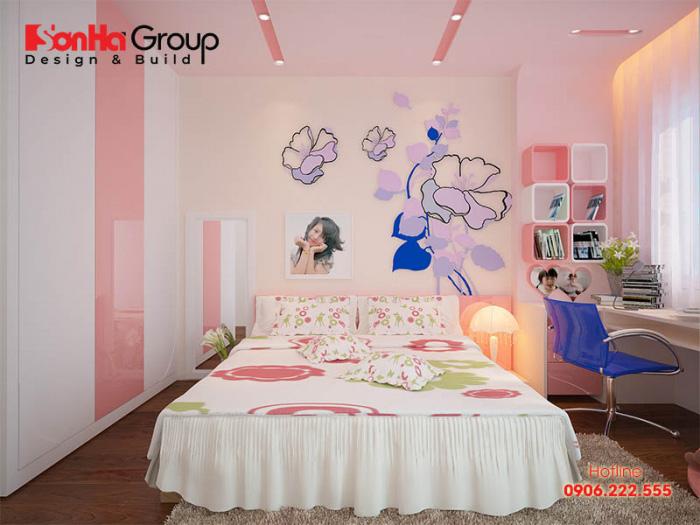 Mẫu phòng ngủ trẻ em đẹp đơn giản nhưng không kém phần sinh động dành cho các bé gái