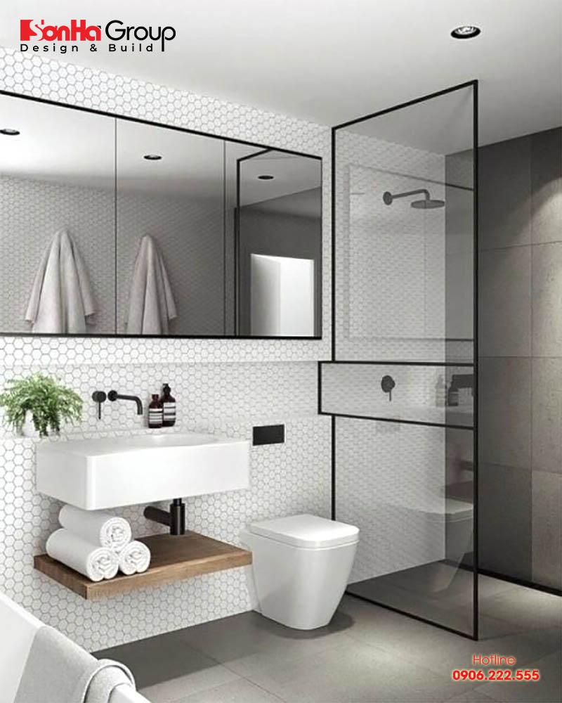 Mẫu phòng tắm toilet nhỏ đẹp được bài trí gọn gàng vừa đơn giản vừa hiện đại vừa tinh tế