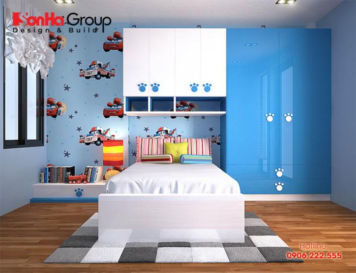 Màu sắc bắt mắt cùng lối bày khoa học mẫu phòng ngủ con trai đã nhận được sự ưng ý lớn từ phía chủ đầu tư