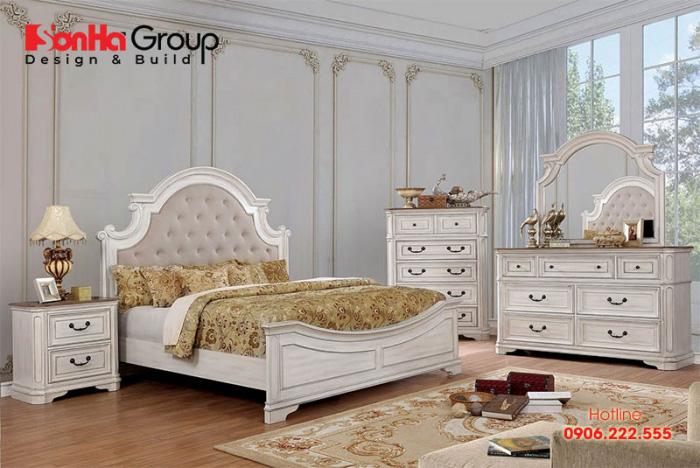 Màu sắc thanh nhã làm nổi bật nét sang trọng của không gian phòng ngủ phong cách cổ điển