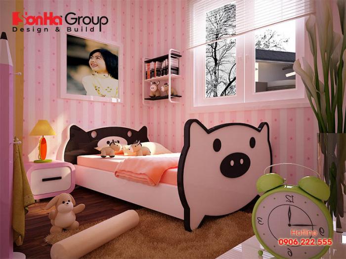 Mẫu thiết kế nội thất phòng ngủ con gái điệu đà với tone hồng dịu dàng nền nã bao trùm gần như toàn bộ không gian