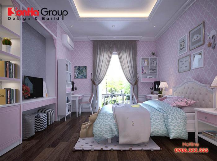 Mẫu thiết kế nội thất phòng ngủ dành cho con gái lớn của gia chủ hiện đại và đầy cá tính với vật dụng độc đáo