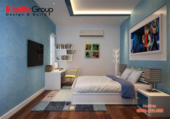 Mẫu thiết kế nội thất phòng ngủ dành cho con trai với sự kết hợp hoàn hảo 2 gam màu trắng và xanh đầy cá tính