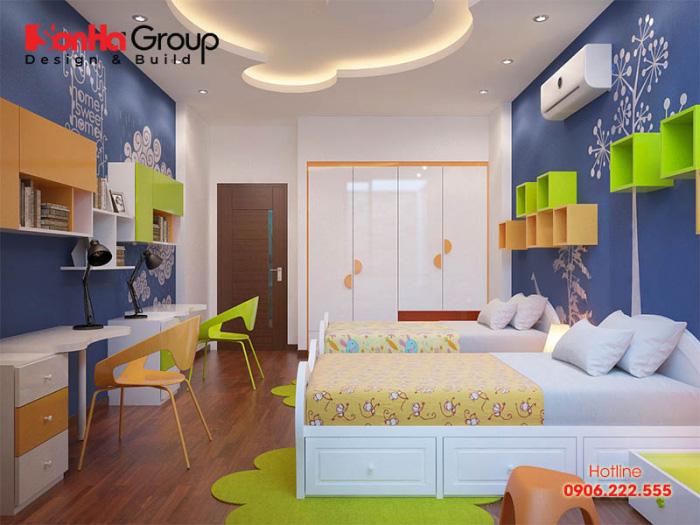 Mẫu thiết kế nội thất phòng ngủ đẹp và ngăn nắp dành cho việc nghỉ ngơi của con trai gia chủ với thế giới riêng tư hoàn hảo