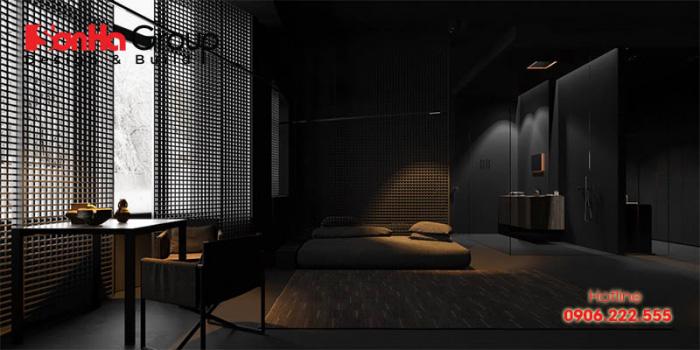 Mẫu thiết kế nội thất phòng ngủ với tông màu đen hiện đại