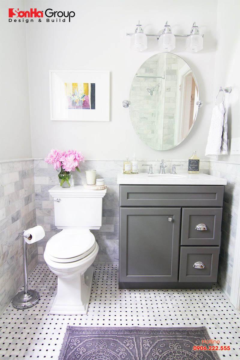 Mẫu thiết kế nội thất phòng tắm nhỏ đẹp với đầy đủ chức năng