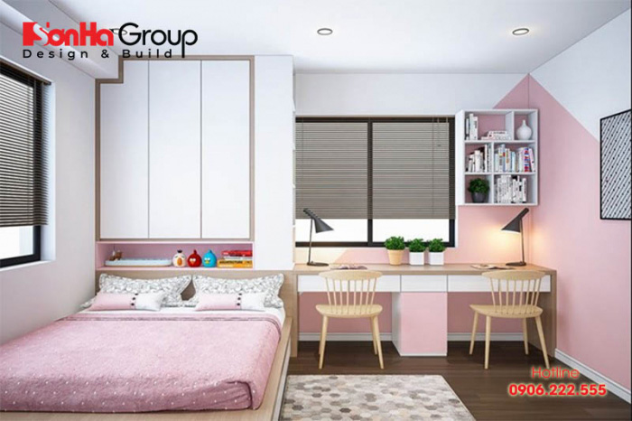 Mẫu thiết kế phòng ngủ màu hồng nhẹ nhàng dành cho các bé gái 10 tuổi