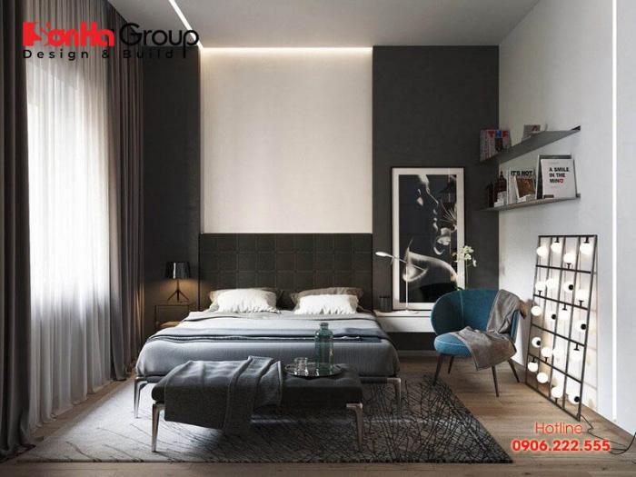 Một phòng ngủ màu đen với đồ nội thất tối giản cũng là một cách trang trí ấn tượng