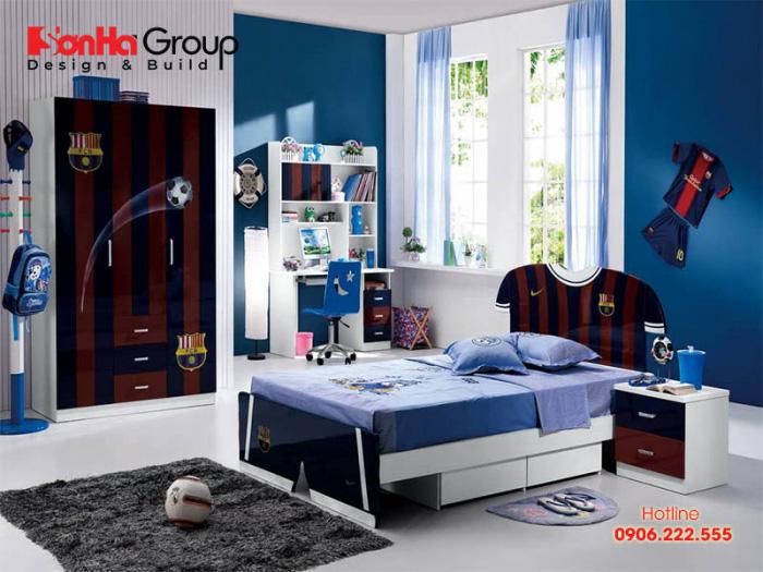 Nếu bé trai nhà bạn yêu thích những đội bóng hãy thiết kế một mẫu phòng ngủ đẹp như thế này