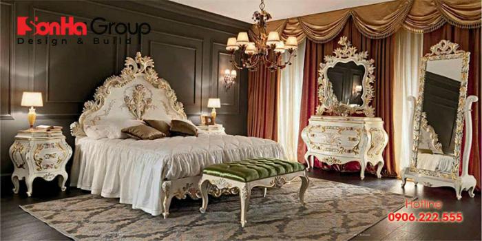 Nội thất cao cấp, kiểu dáng sang trọng là điểm nhấn ấn tượng của căn phòng ngủ hoàng gia châu Âu này