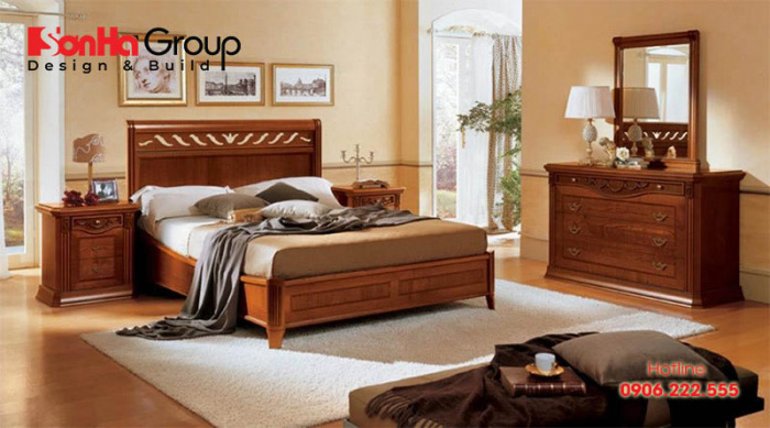 Nội thất phòng ngủ gỗ tự nhiên bền đẹp mang đến không gian riêng tư ấm cúng