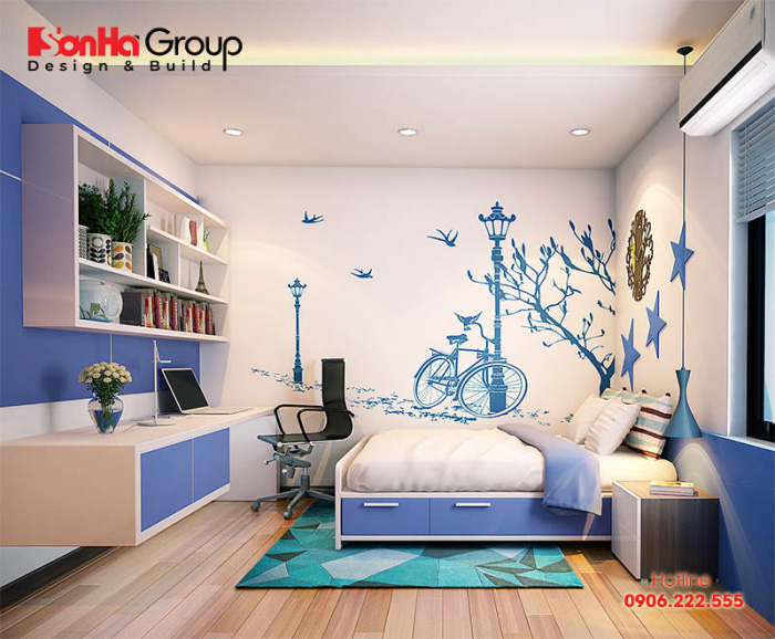 Nội thất phòng ngủ nhà ống với không gian riêng tư là nơi học tập, nghỉ ngơi của con vô cùng ấn tượng