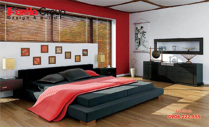 Phối màu đỏ cho các nội thất trong phòng ngủ trở nên hài hòa