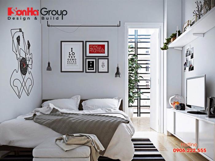 Phòng ngủ 10m2 tiện nghi hơn bao giờ hết khi bố trí gọn gàng các đồ nội thất và gam màu đậm chất hiện đại