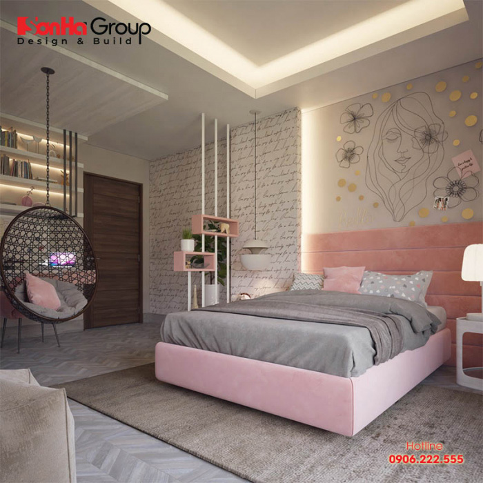 Phòng ngủ cho bé yêu thật phong cách với sự kết hợp của tông màu hồng và màu xám